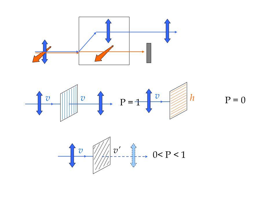 P = 0 v h P = 1 v 0< P < 1 v v'