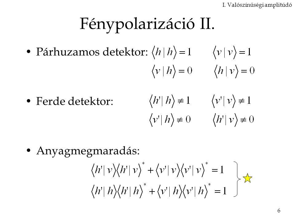 Fénypolarizáció II. Párhuzamos detektor: Ferde detektor: