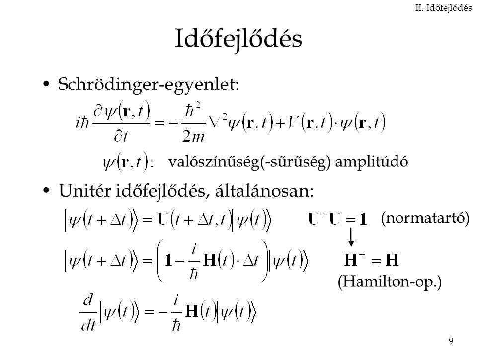Időfejlődés Schrödinger-egyenlet: Unitér időfejlődés, általánosan: