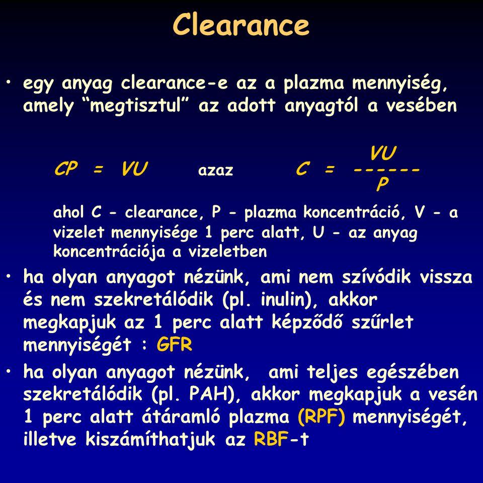 Clearance egy anyag clearance-e az a plazma mennyiség, amely megtisztul az adott anyagtól a vesében.