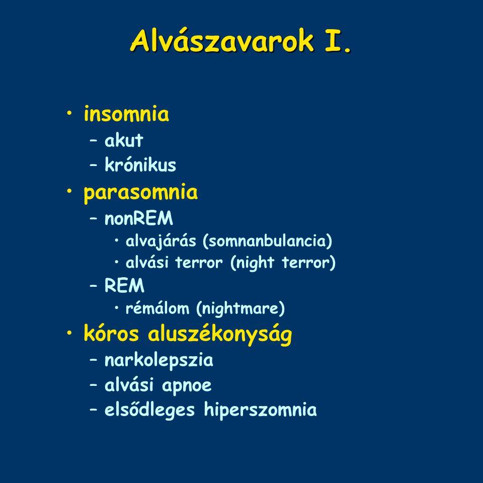 Alvászavarok I. insomnia parasomnia kóros aluszékonyság akut krónikus