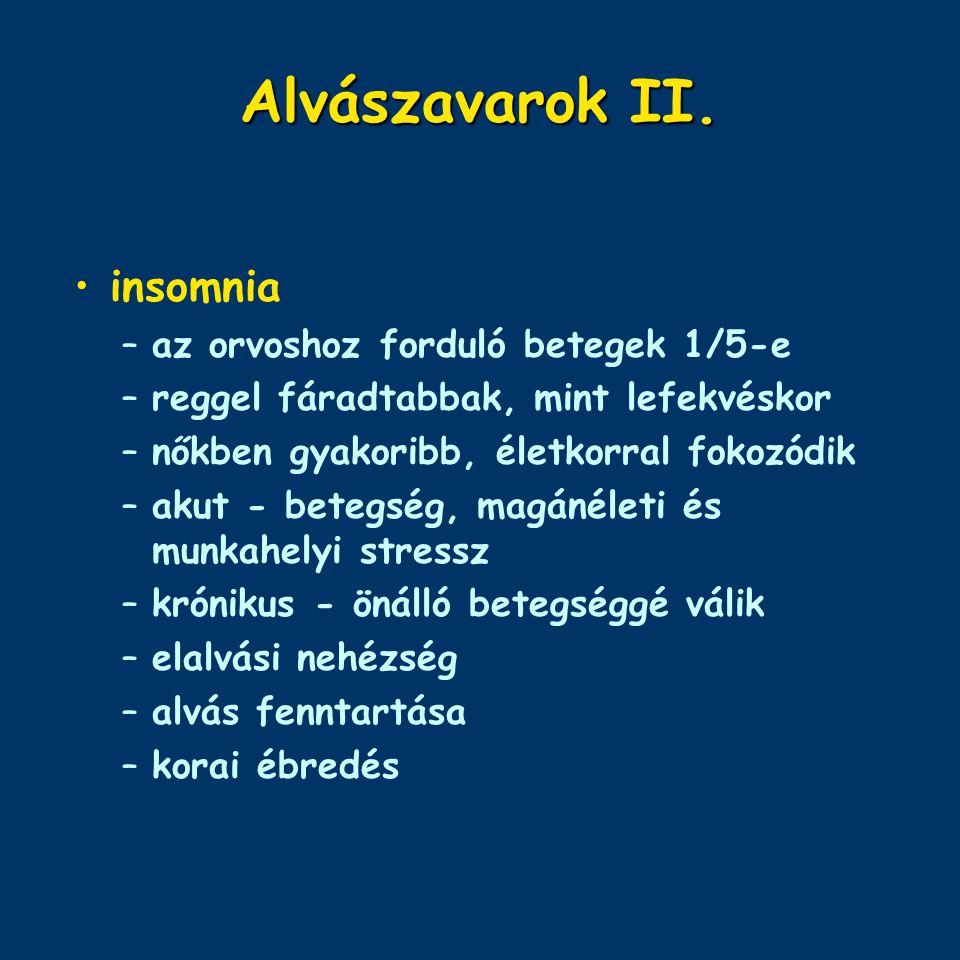 Alvászavarok II. insomnia az orvoshoz forduló betegek 1/5-e