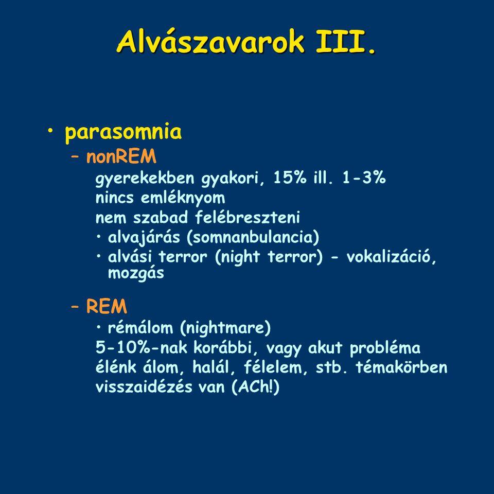 Alvászavarok III. parasomnia nonREM REM