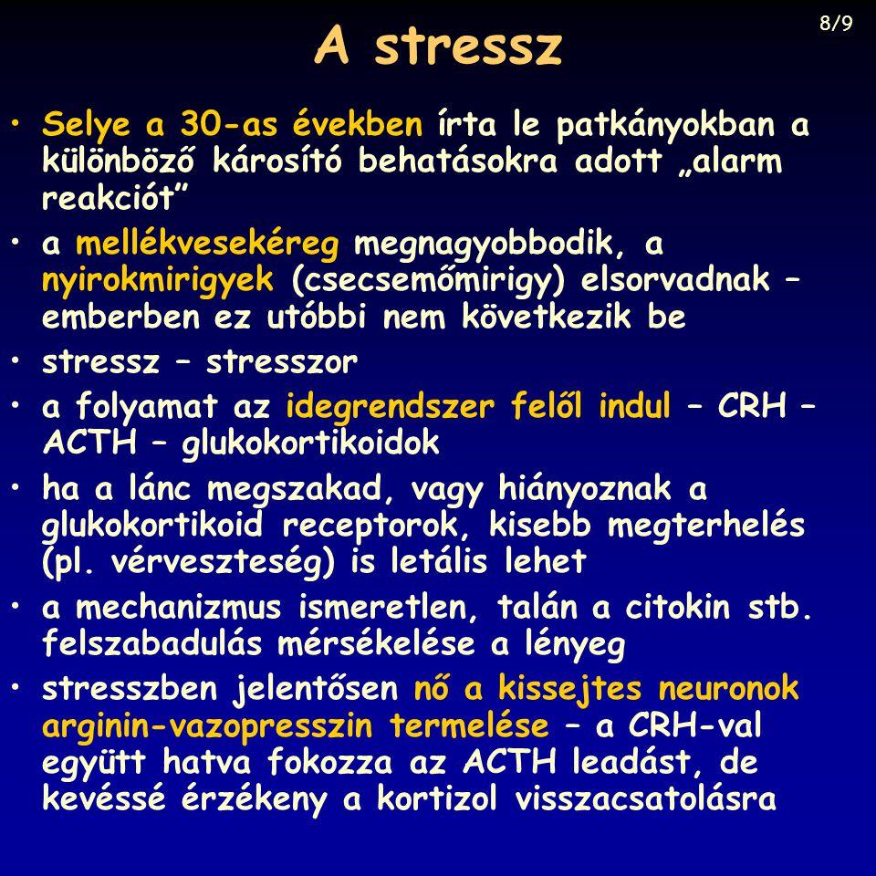 """A stressz 8/9. Selye a 30-as években írta le patkányokban a különböző károsító behatásokra adott """"alarm reakciót"""