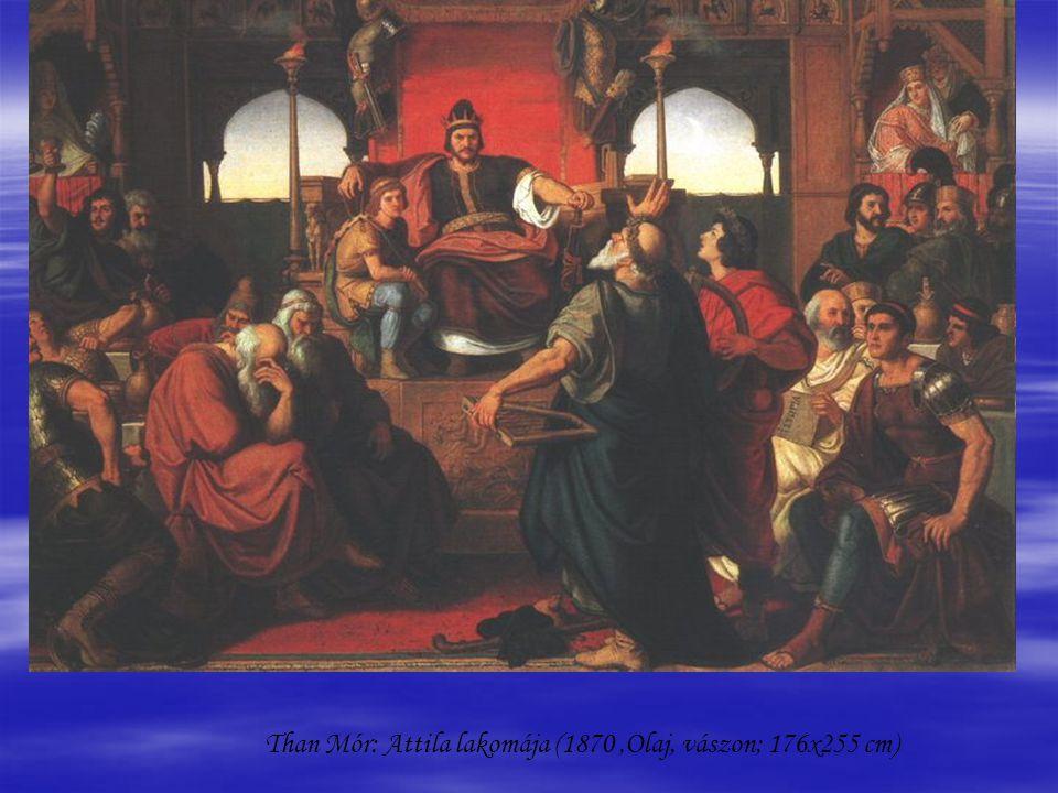 Than Mór: Attila lakomája (1870 ,Olaj, vászon; 176x255 cm)