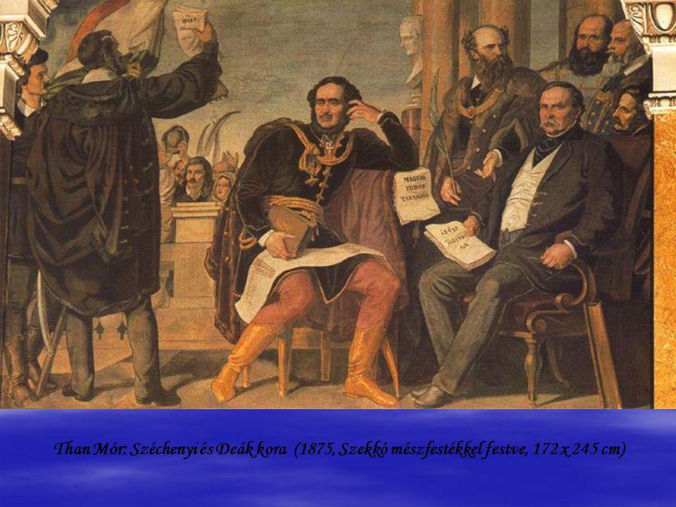 Than Mór: Széchenyi és Deák kora (1875, Szekkó mészfestékkel festve, 172 x 245 cm)