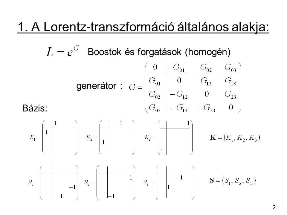 1. A Lorentz-transzformáció általános alakja: