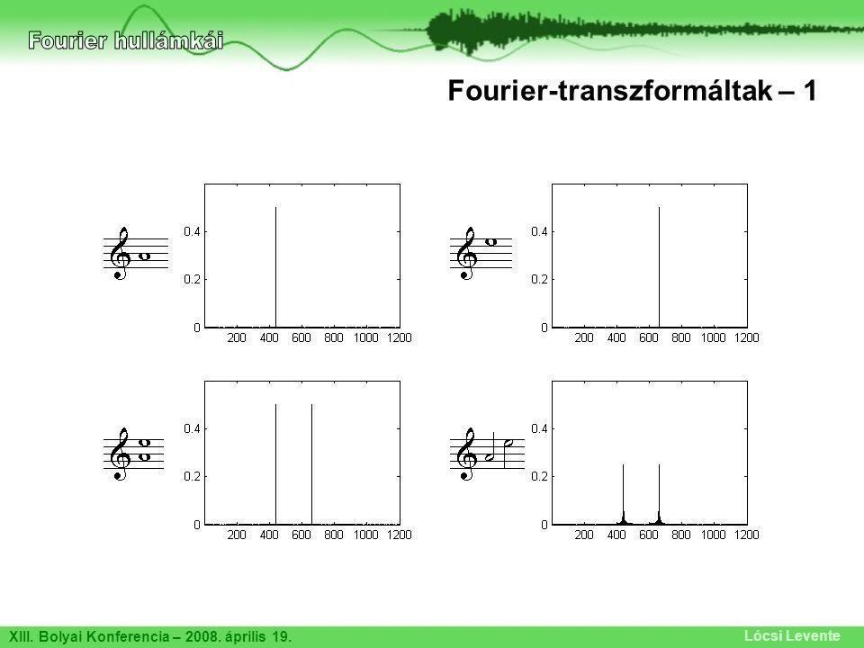 Fourier hullámkái Fourier-transzformáltak – 1