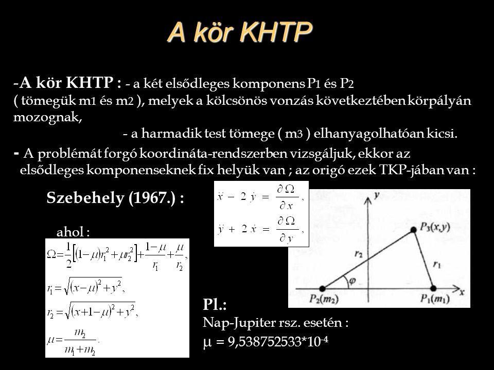 A kör KHTP A kör KHTP : - a két elsődleges komponens P1 és P2