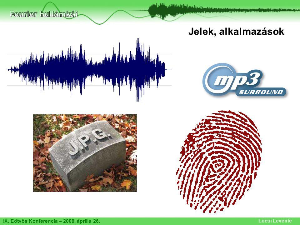 Fourier hullámkái Jelek, alkalmazások