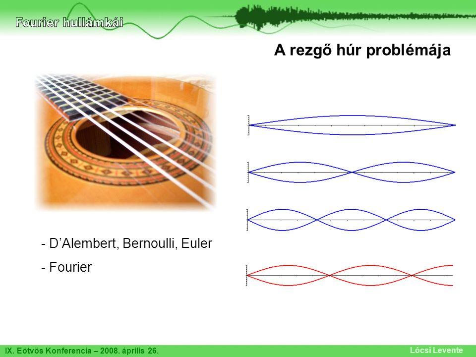 Fourier hullámkái A rezgő húr problémája D'Alembert, Bernoulli, Euler