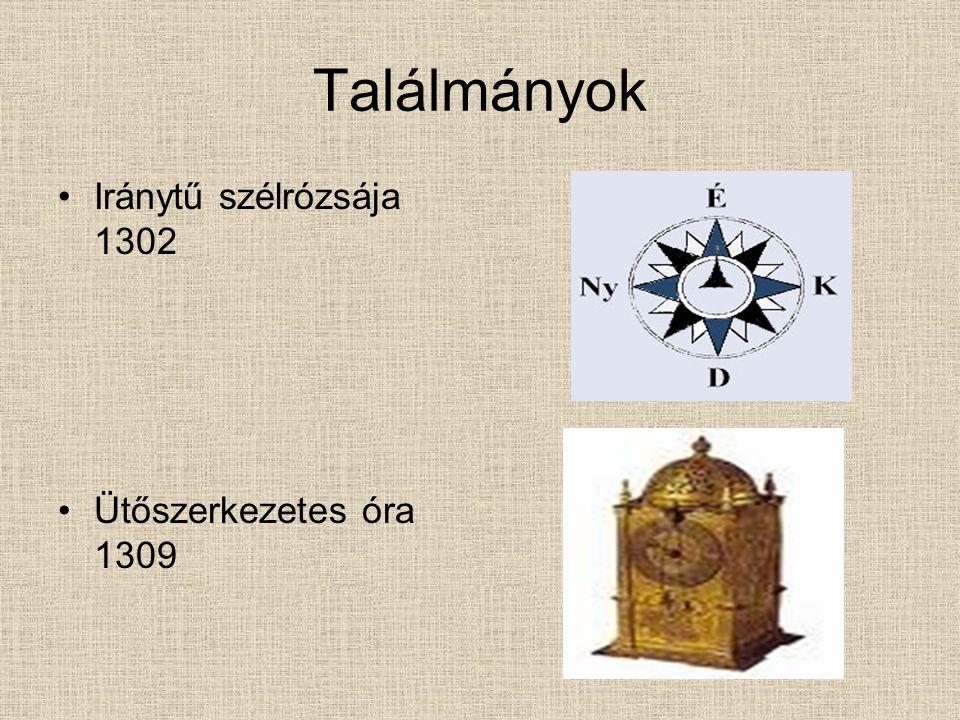 Találmányok Iránytű szélrózsája 1302 Ütőszerkezetes óra 1309
