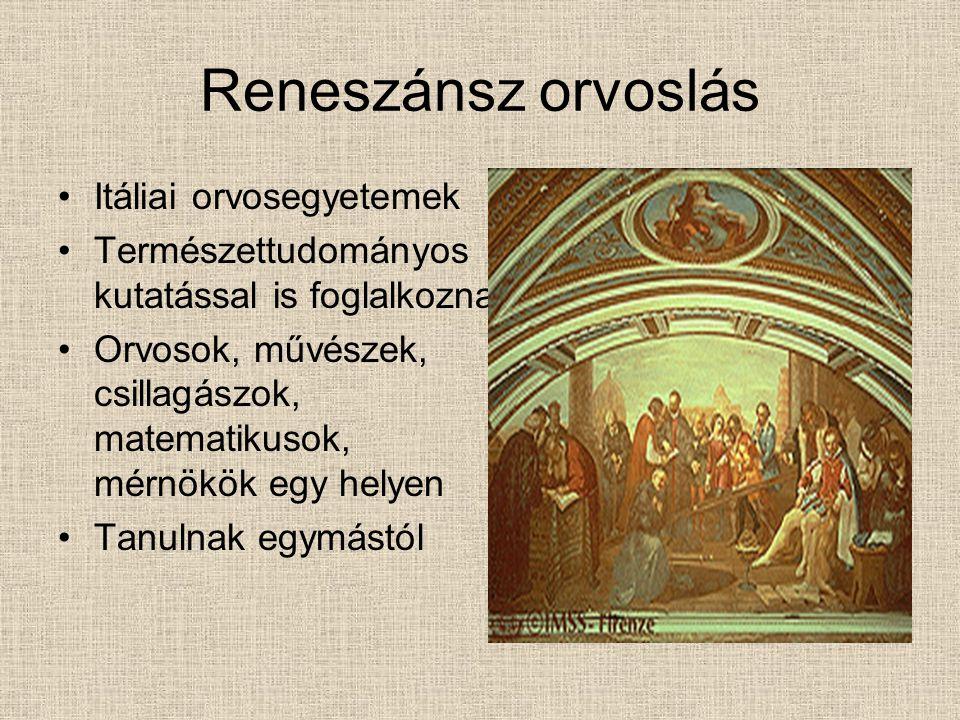 Reneszánsz orvoslás Itáliai orvosegyetemek