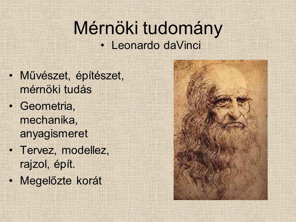 Mérnöki tudomány Leonardo daVinci Művészet, építészet, mérnöki tudás