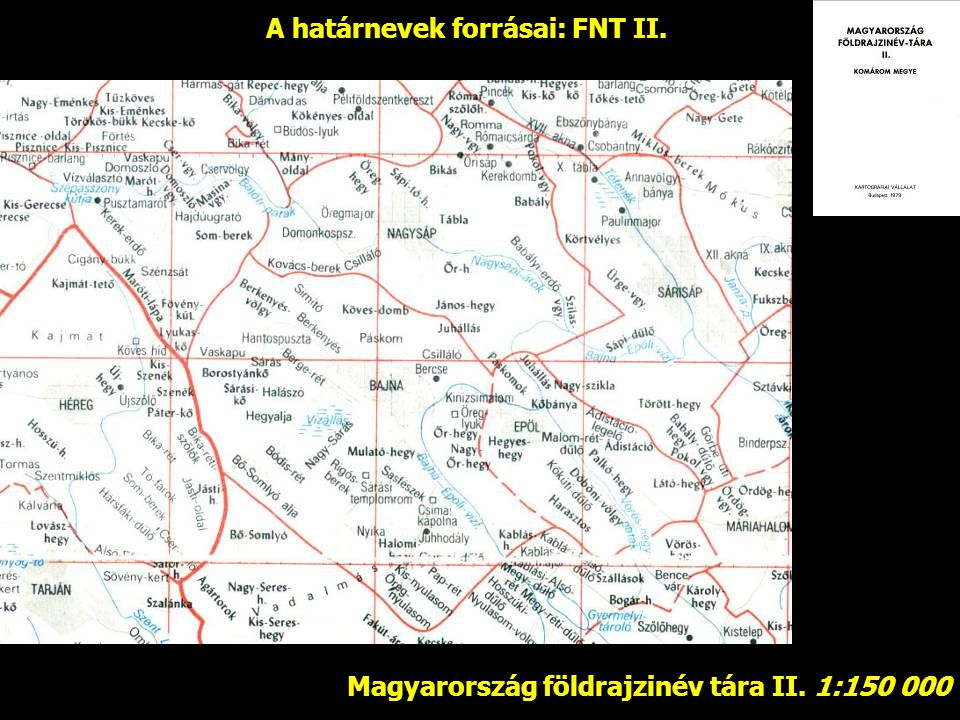 A határnevek forrásai: FNT II.
