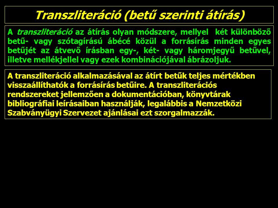 Transzliteráció (betű szerinti átírás)