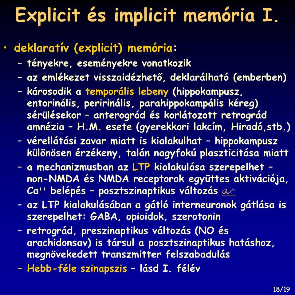 Explicit és implicit memória I.