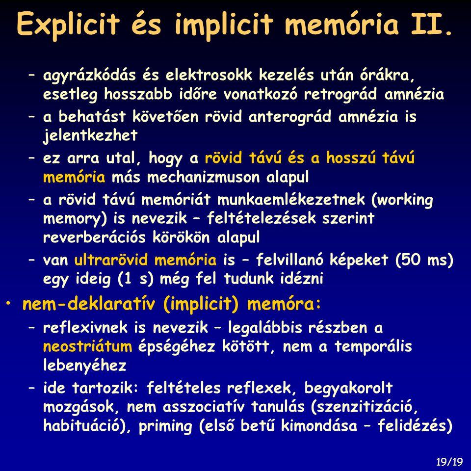 Explicit és implicit memória II.