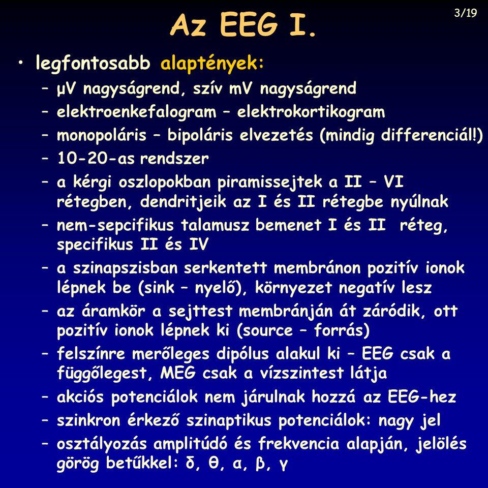 Az EEG I. legfontosabb alaptények: μV nagyságrend, szív mV nagyságrend
