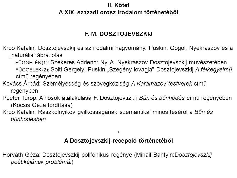 A XIX. századi orosz irodalom történetéből
