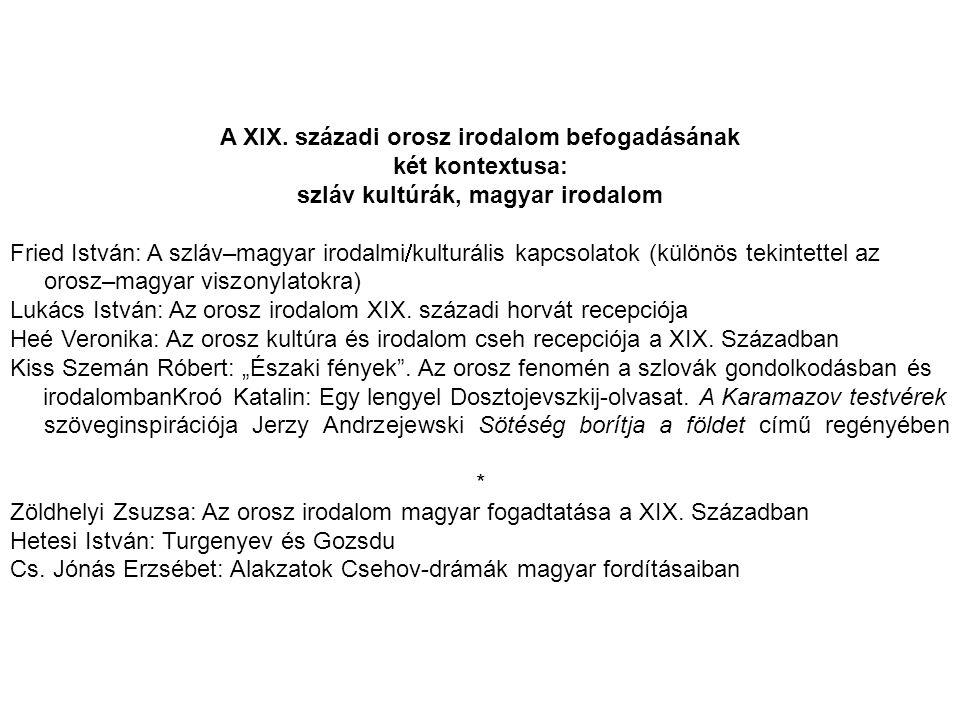 szláv kultúrák, magyar irodalom