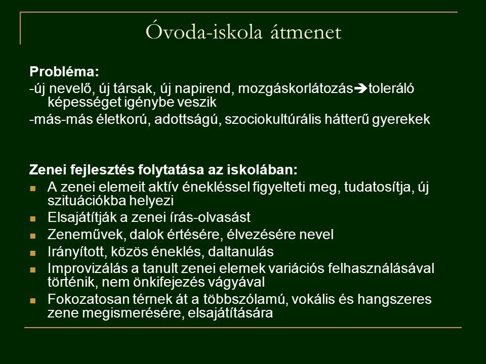 Óvoda-iskola átmenet Probléma: