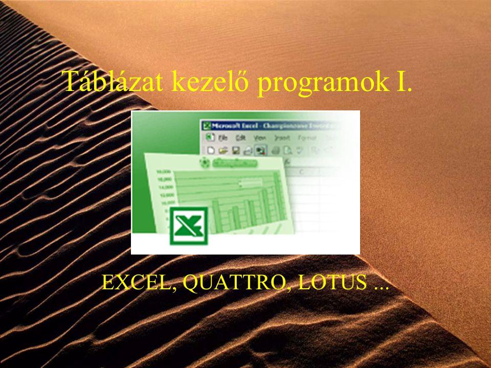 Táblázat kezelő programok I.