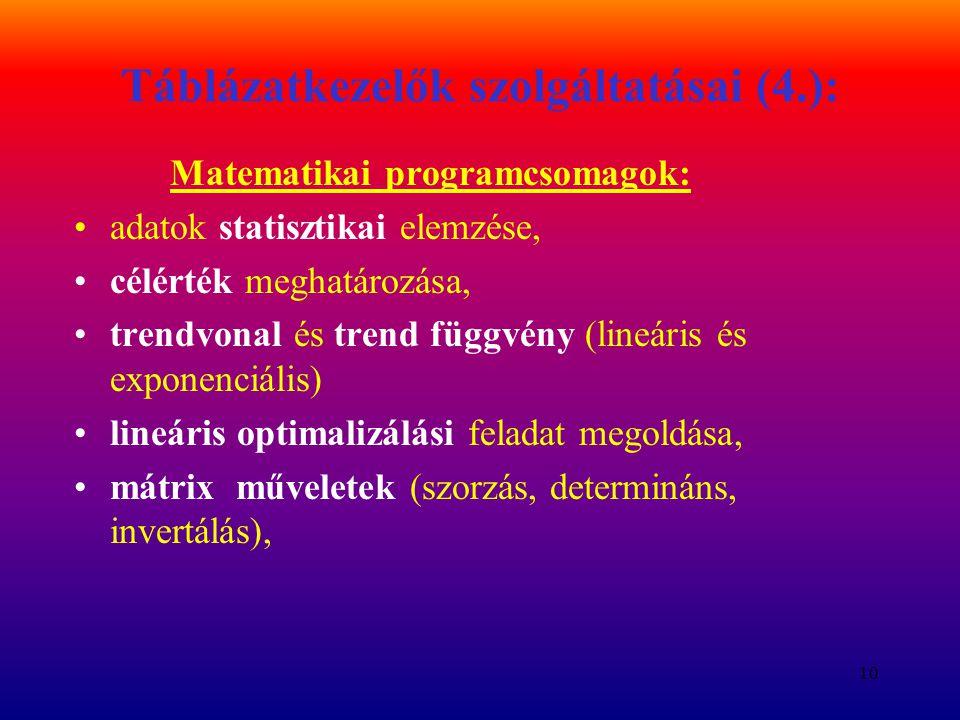 Táblázatkezelők szolgáltatásai (4.):