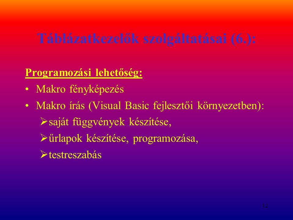 Táblázatkezelők szolgáltatásai (6.):