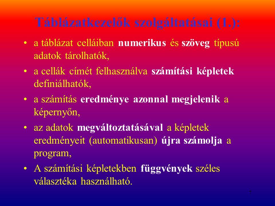 Táblázatkezelők szolgáltatásai (1.):