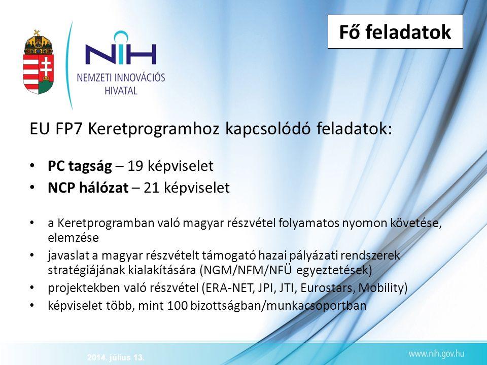 Fő feladatok EU FP7 Keretprogramhoz kapcsolódó feladatok: