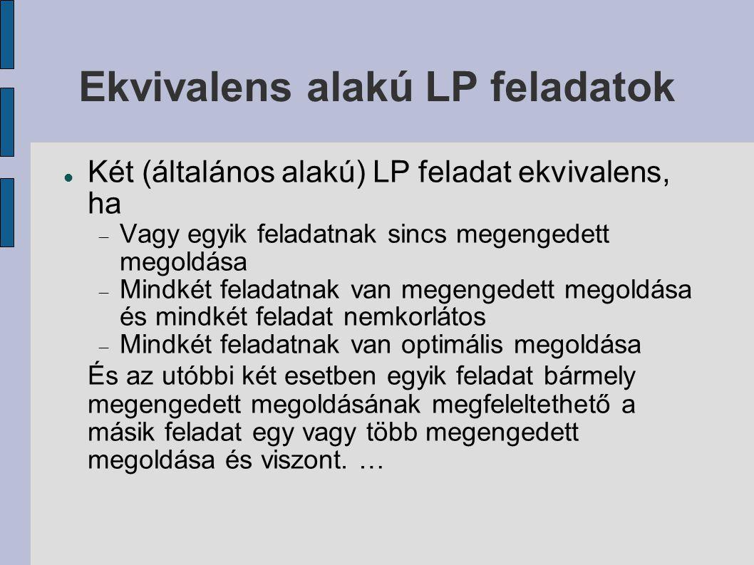 Ekvivalens alakú LP feladatok