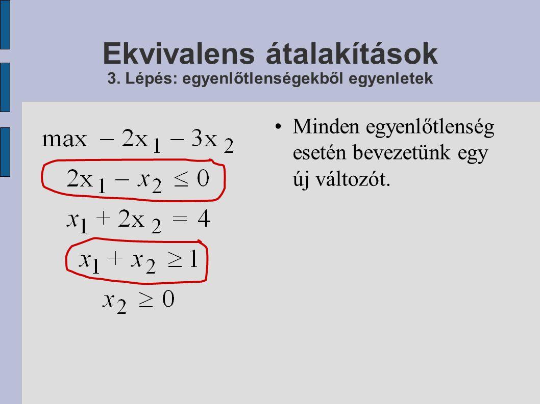 Ekvivalens átalakítások 3. Lépés: egyenlőtlenségekből egyenletek
