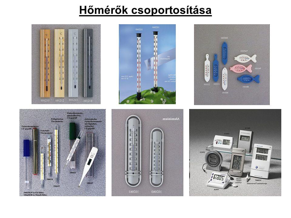 Hőmérők csoportosítása