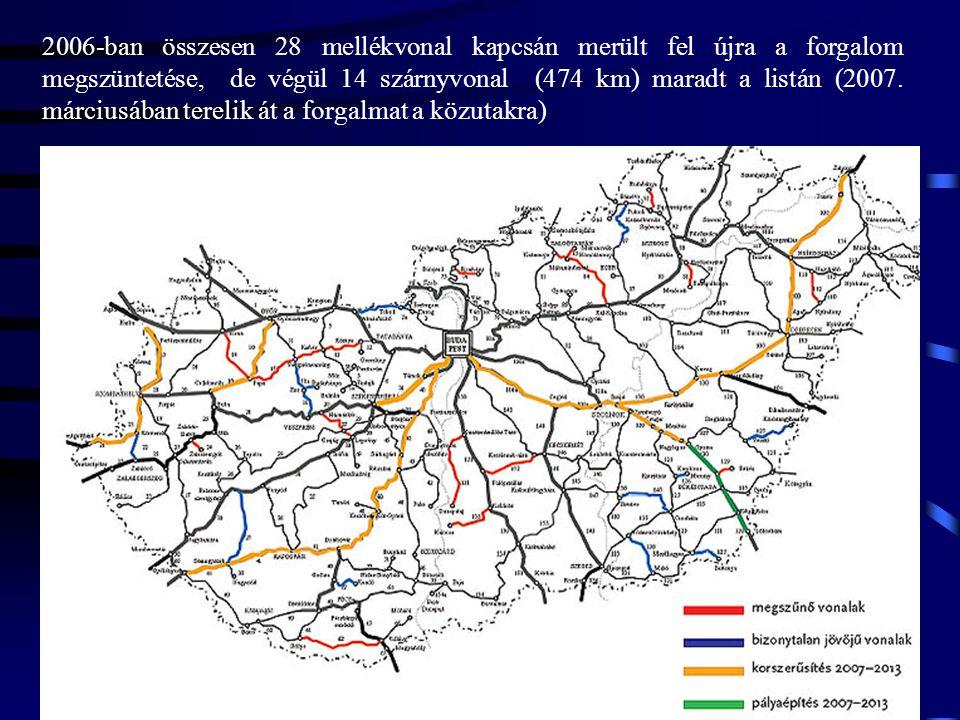 2006-ban összesen 28 mellékvonal kapcsán merült fel újra a forgalom megszüntetése, de végül 14 szárnyvonal (474 km) maradt a listán (2007.