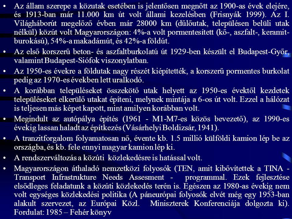Az állam szerepe a közutak esetében is jelentősen megnőtt az 1900-as évek elejére, és 1913-ban már 11.000 km út volt állami kezelésben (Frisnyák 1999). Az I. Világháborút megelőző évben már 28000 km (dűlőutak, településen belüli utak nélkül) közút volt Magyarországon: 4%-a volt pormentesített (kő-, aszfalt-, keramit-burokású), 54%-a makadámút, és 42%-a földút.
