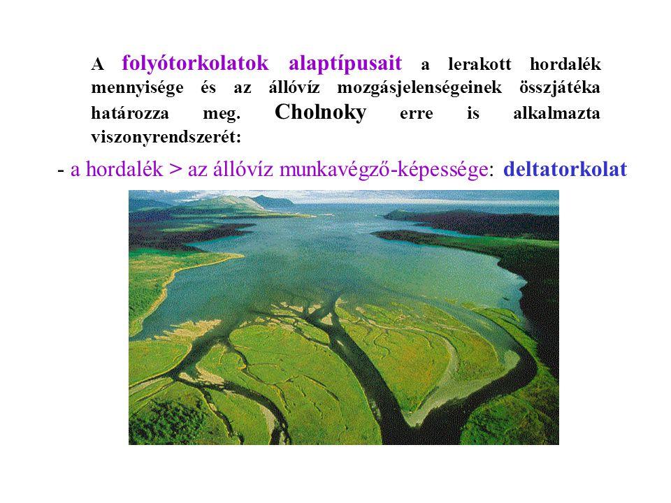 - a hordalék > az állóvíz munkavégző-képessége: deltatorkolat