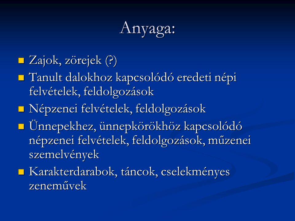 Anyaga: Zajok, zörejek ( )