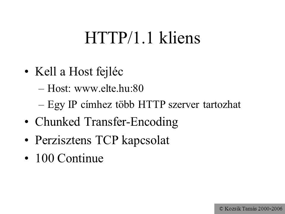 HTTP/1.1 kliens Kell a Host fejléc Chunked Transfer-Encoding