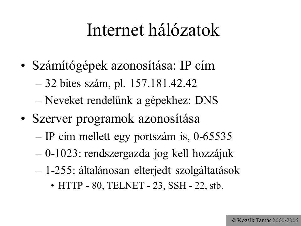 Internet hálózatok Számítógépek azonosítása: IP cím