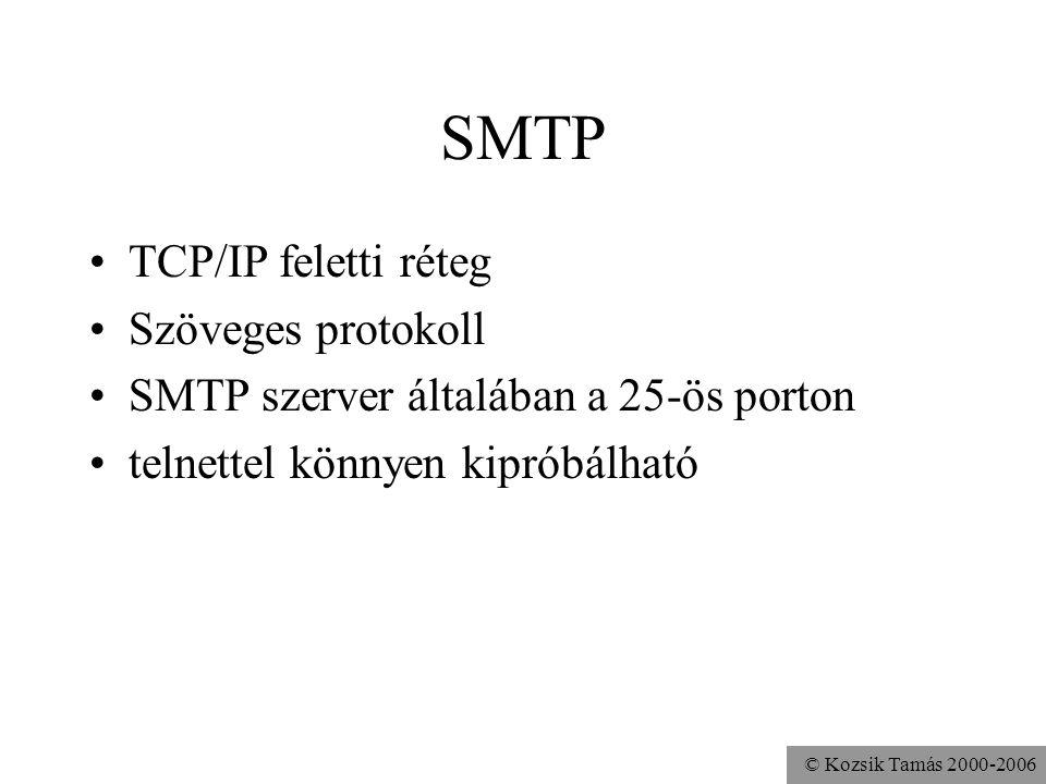 SMTP TCP/IP feletti réteg Szöveges protokoll