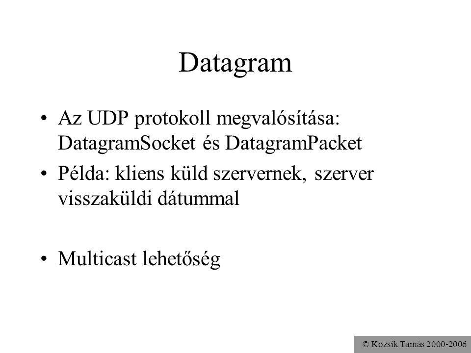Datagram Az UDP protokoll megvalósítása: DatagramSocket és DatagramPacket. Példa: kliens küld szervernek, szerver visszaküldi dátummal.