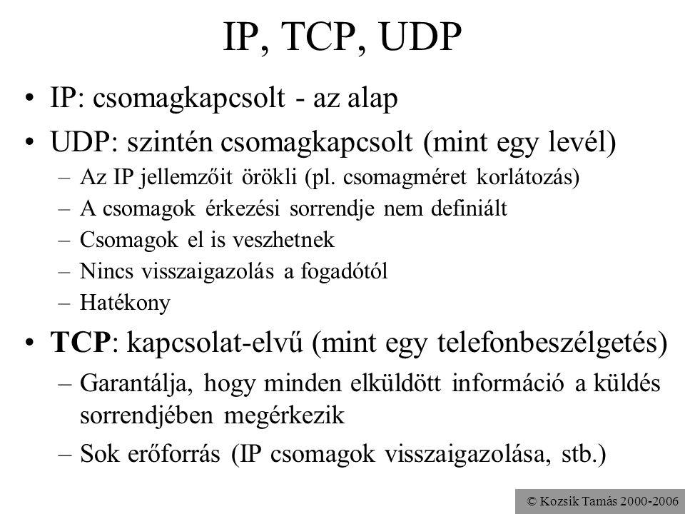 IP, TCP, UDP IP: csomagkapcsolt - az alap