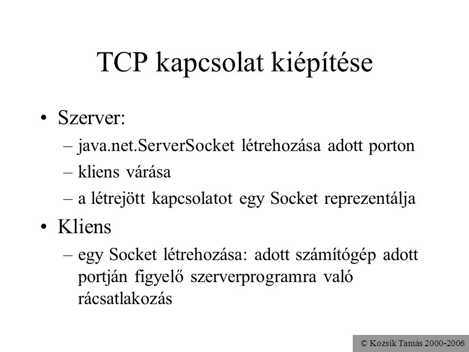 TCP kapcsolat kiépítése