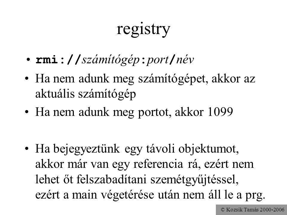 registry rmi://számítógép:port/név
