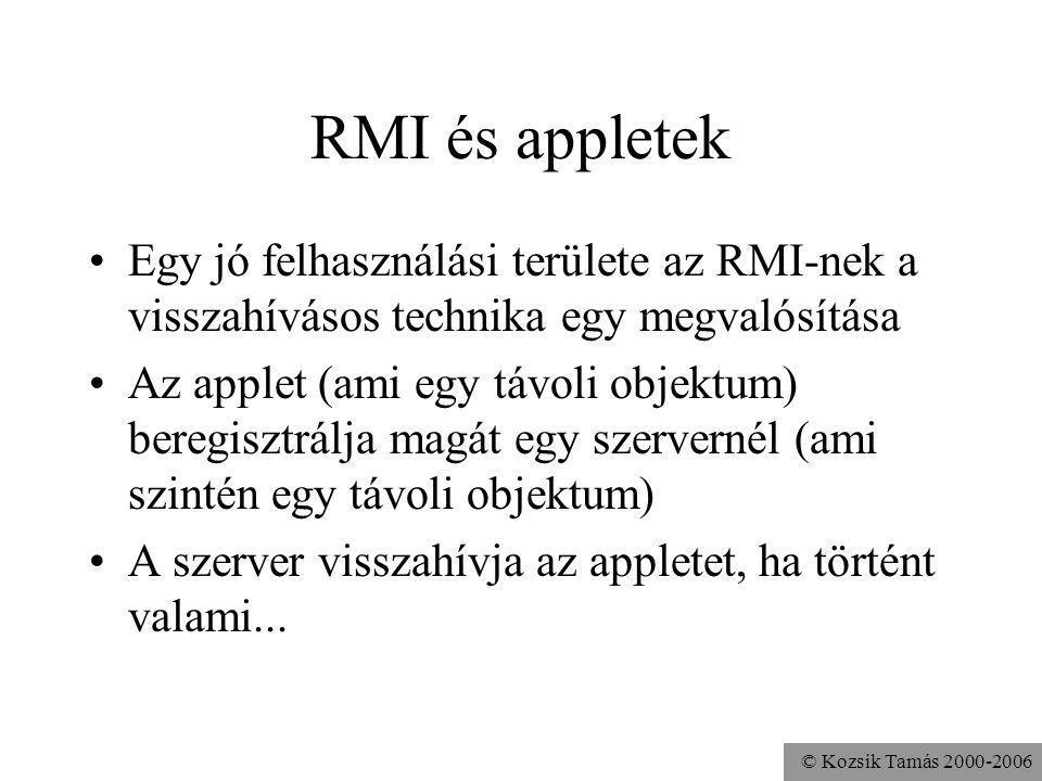 RMI és appletek Egy jó felhasználási területe az RMI-nek a visszahívásos technika egy megvalósítása.