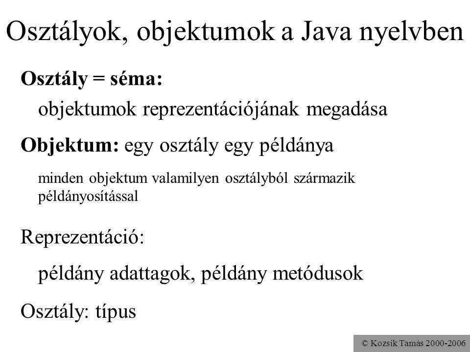 Osztályok, objektumok a Java nyelvben