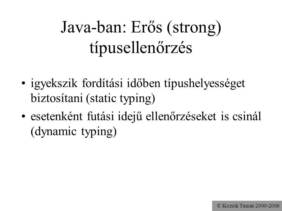 Java-ban: Erős (strong) típusellenőrzés