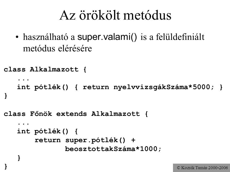 Az örökölt metódus használható a super.valami() is a felüldefiniált metódus elérésére. class Alkalmazott {