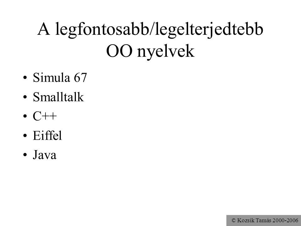 A legfontosabb/legelterjedtebb OO nyelvek